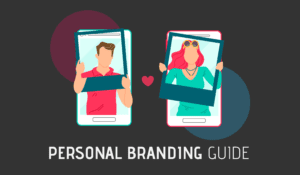 Personal Brand Guide Cover Photo With Girl And Guy Influencer Holding Instagram Frames.