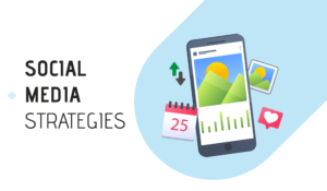 Social Media Strategies Cover Photo With Smartphone, Calendar, Analytics And More Social Elements.