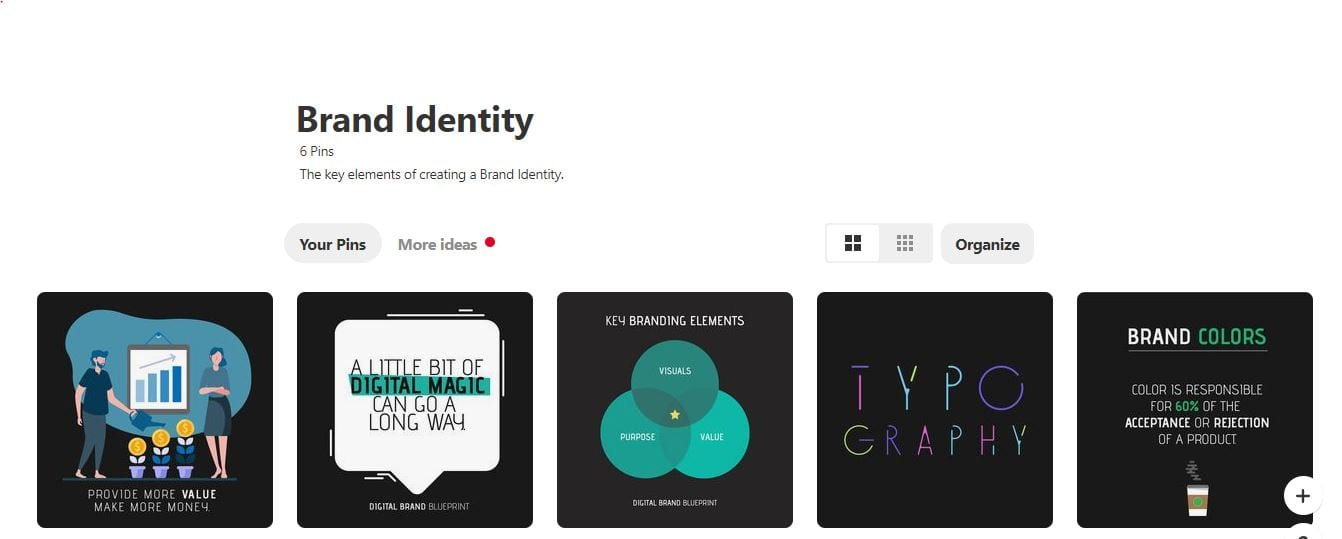 Moodboard Example on Pinterest By Digital Branding