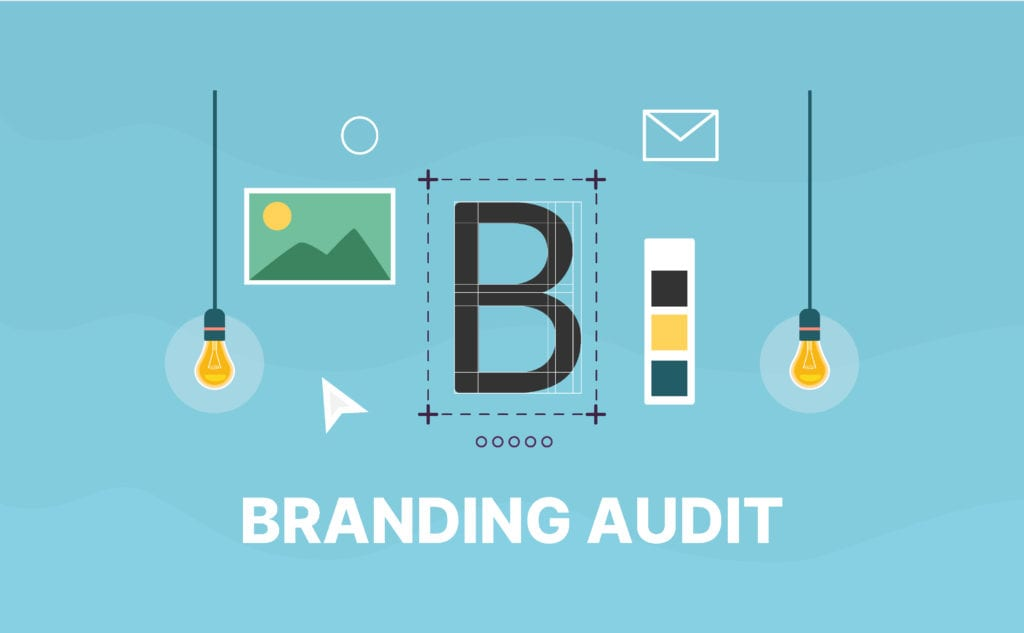 Branding audit cover photo with ideas light bulb, design elements, photos, and more.