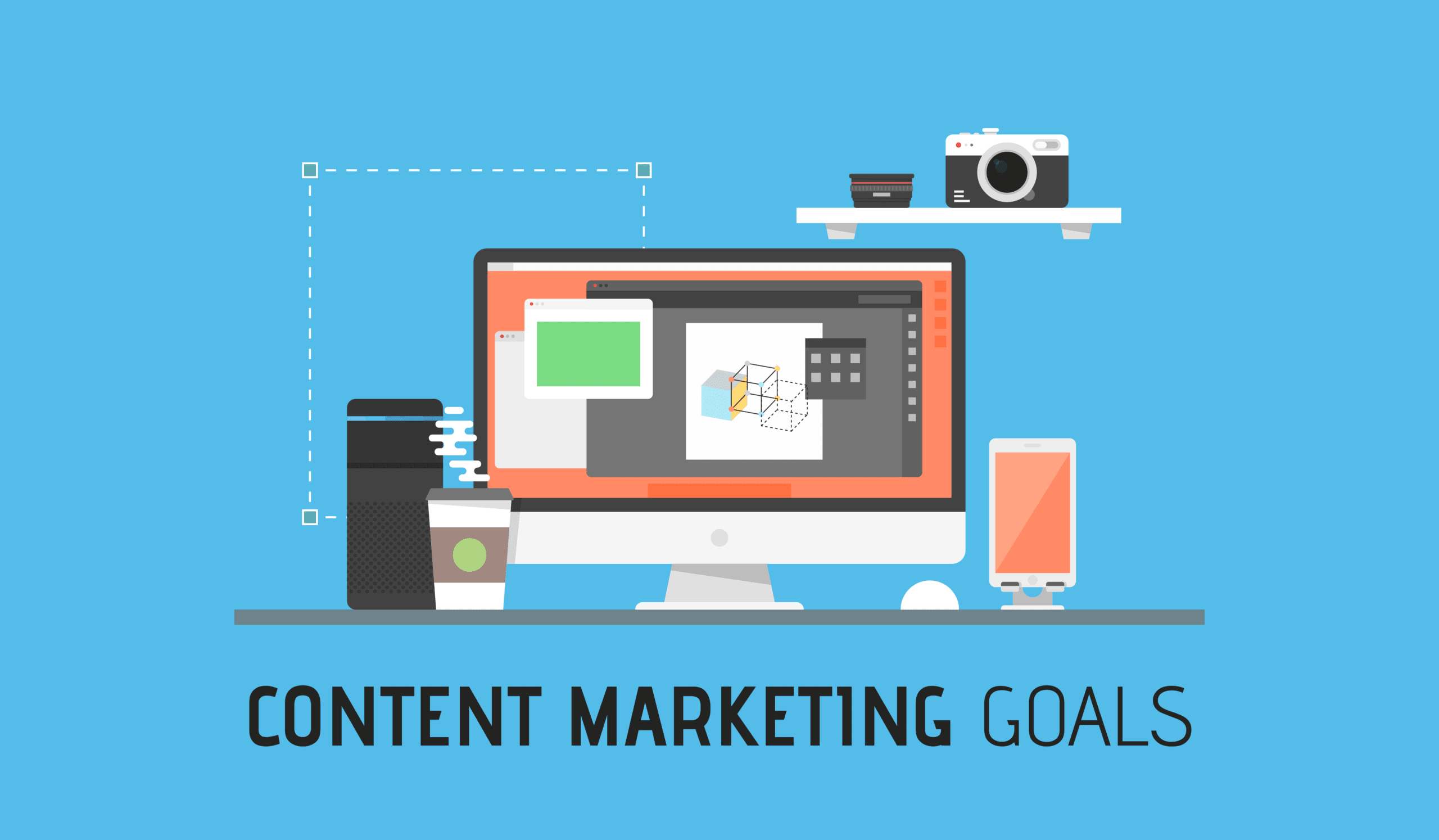 How To Set Content Marketing Goals And Objectives Cover Photo With Digital Brand On Computer.