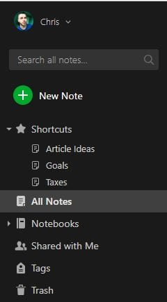 Create notes and separate them into notebooks.