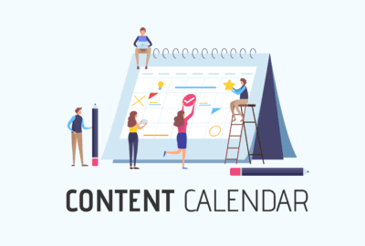 People Creating a Content Calendar Together as a Team Marketing Cover Photo.