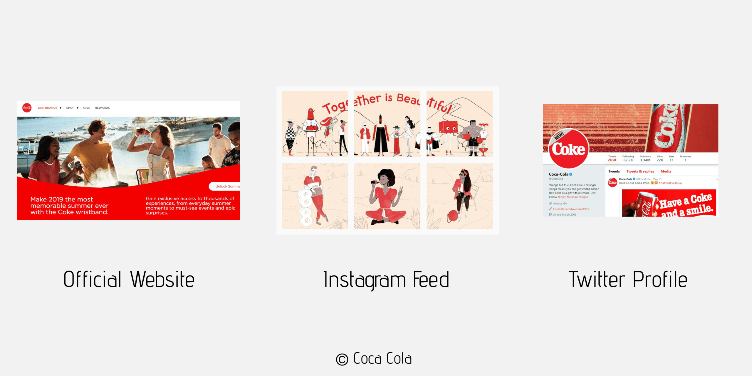 A photo showing how coca cola uses the red color to express their visual identity online.