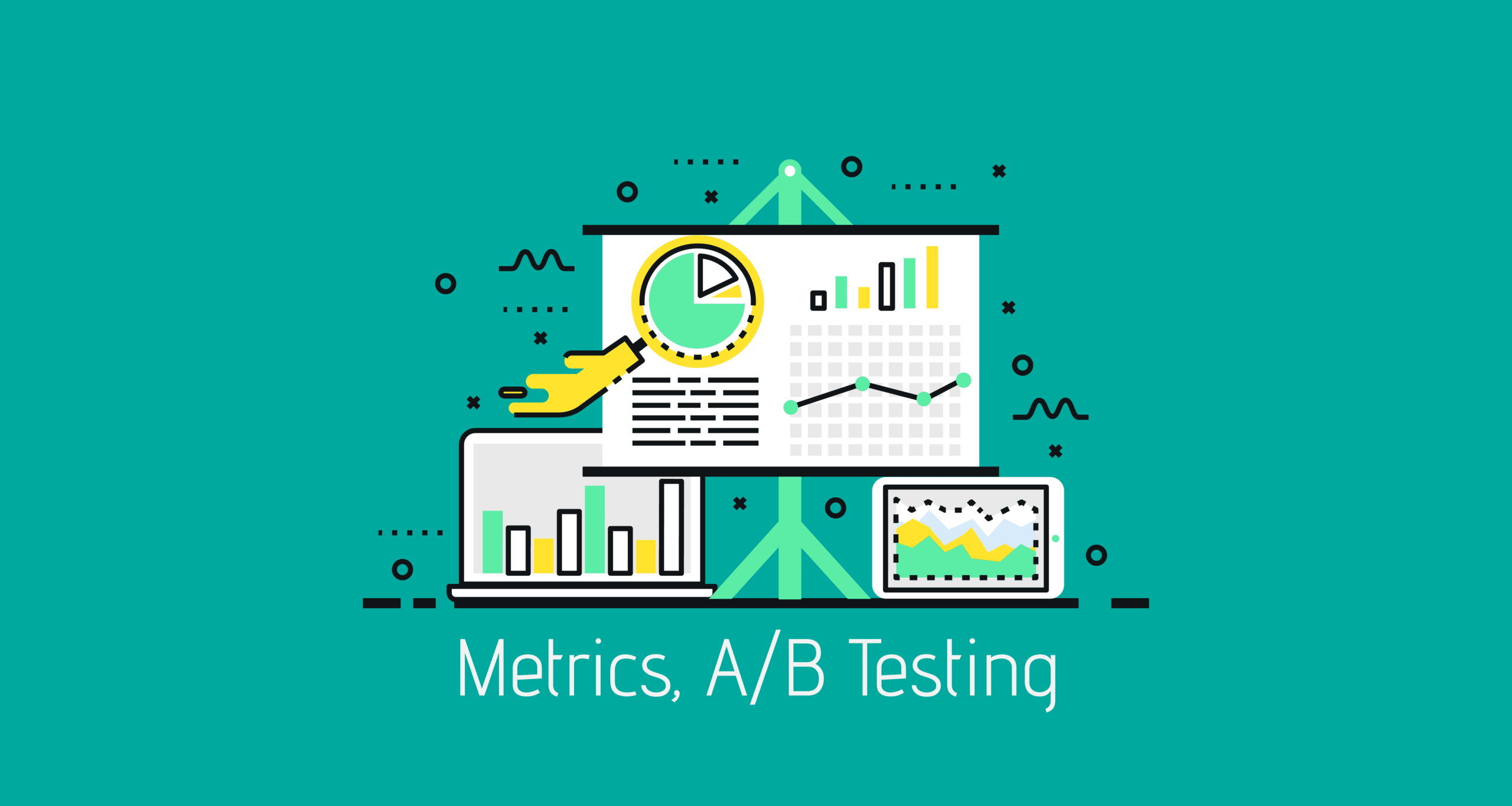 A photo with marketing campaign performance elements including charts, analytics and tools.