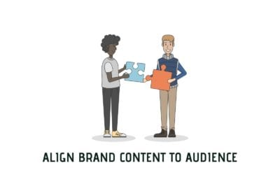 Content Marketing Strategy Alignment Cover Photo With Marketer And Audience Exchange Puzzle Pieces.
