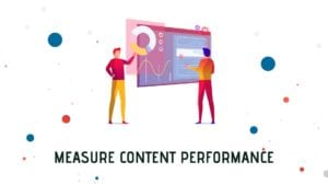 A cover photo with two guys looking at analytics to measure content strategy performance.