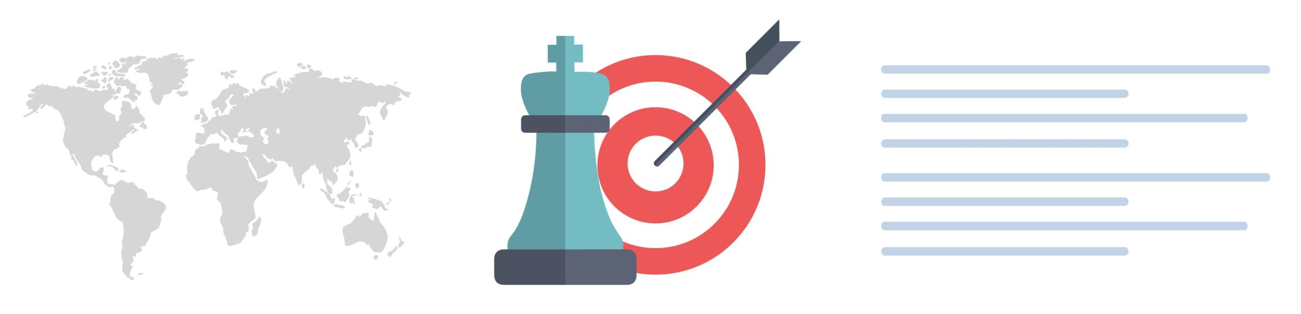 Strategy Goals Element With Chess Piece and Target With Arrow.