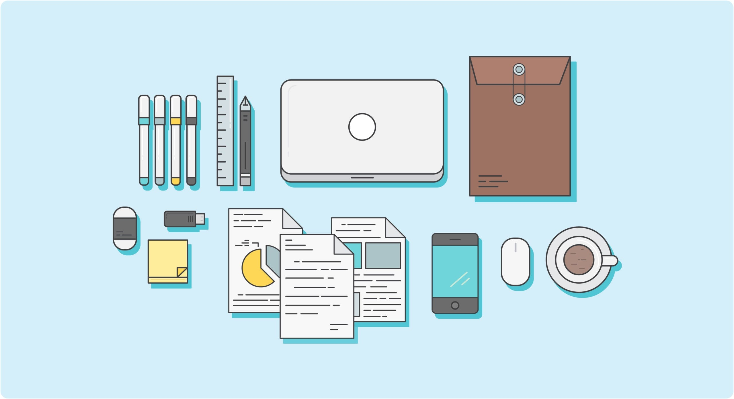 A set of tools for creating content on desk. Including papers, laptop, phone, documents, sticky notes, coffee, and more.