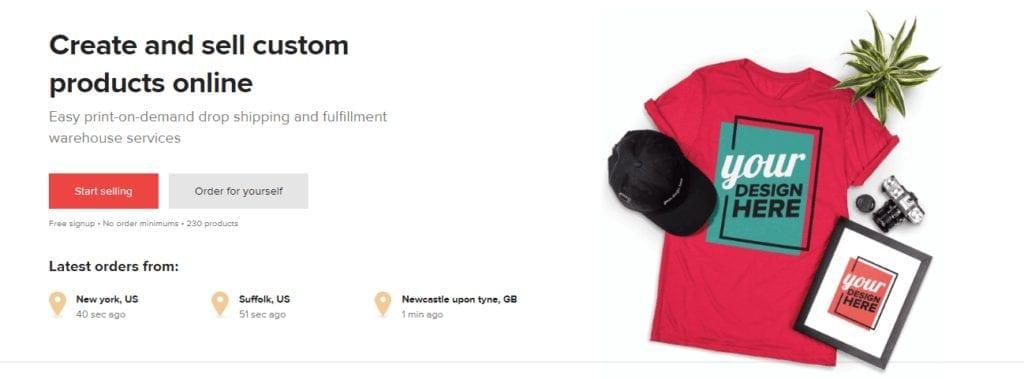 The Printful homepage screenshot. Create your own branded merch.