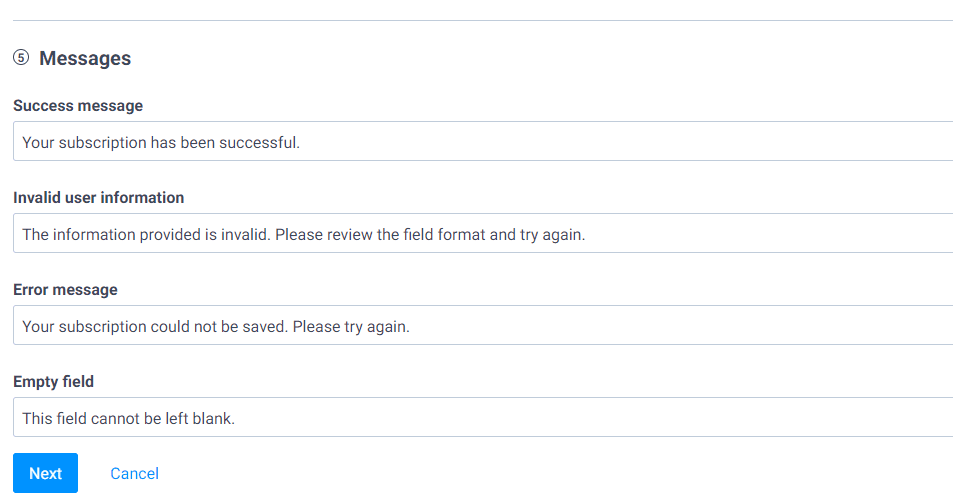 Subscription form success and error messages edit.