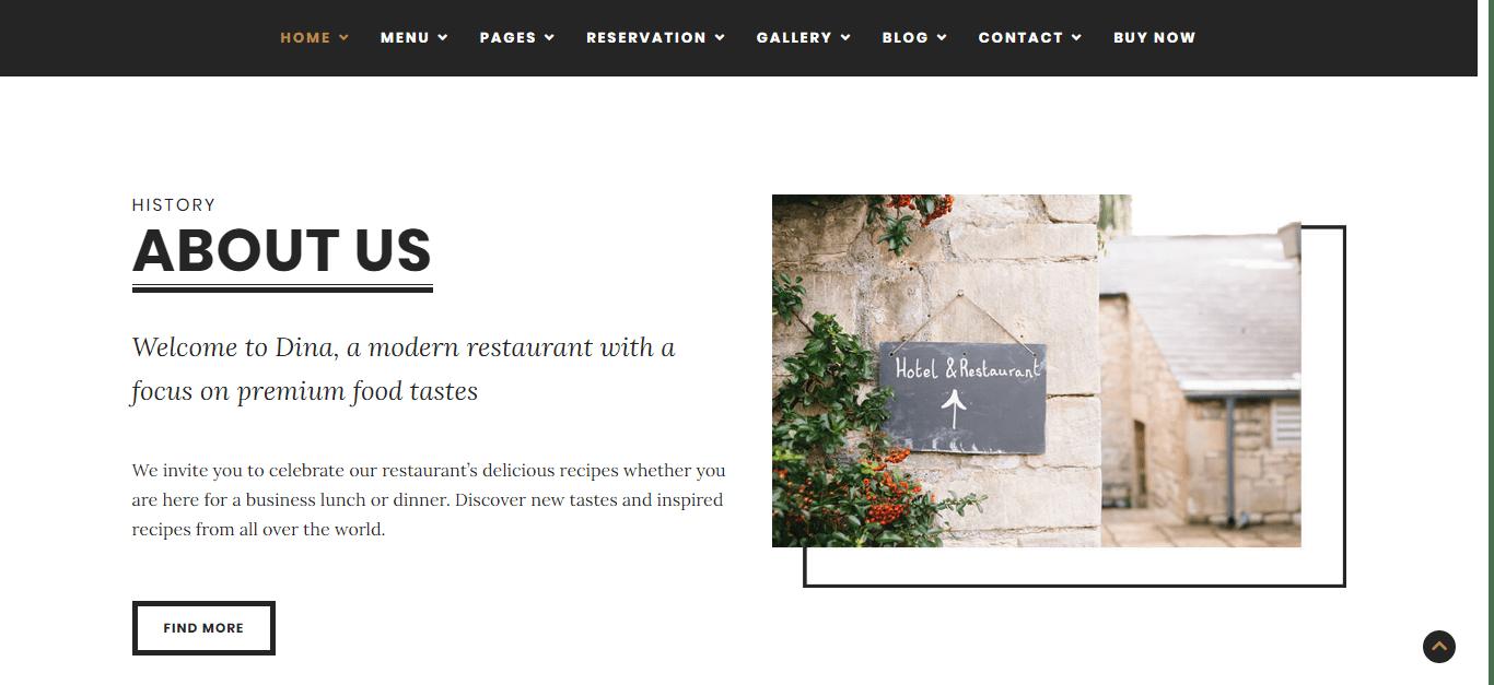 Preview Dina Elegant Dining WordPress Theme