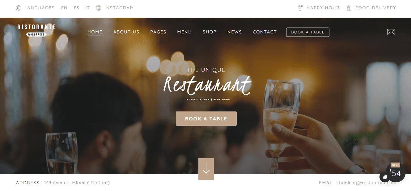 Preview Ristourante theme with reservations plugin.