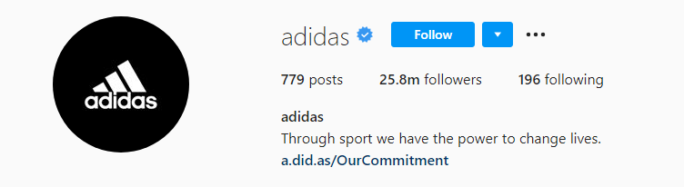 Snapshot from the Instagram profile of Adidas.